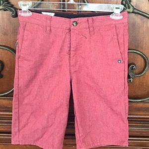 Red Volcom young teen Bermuda shorts